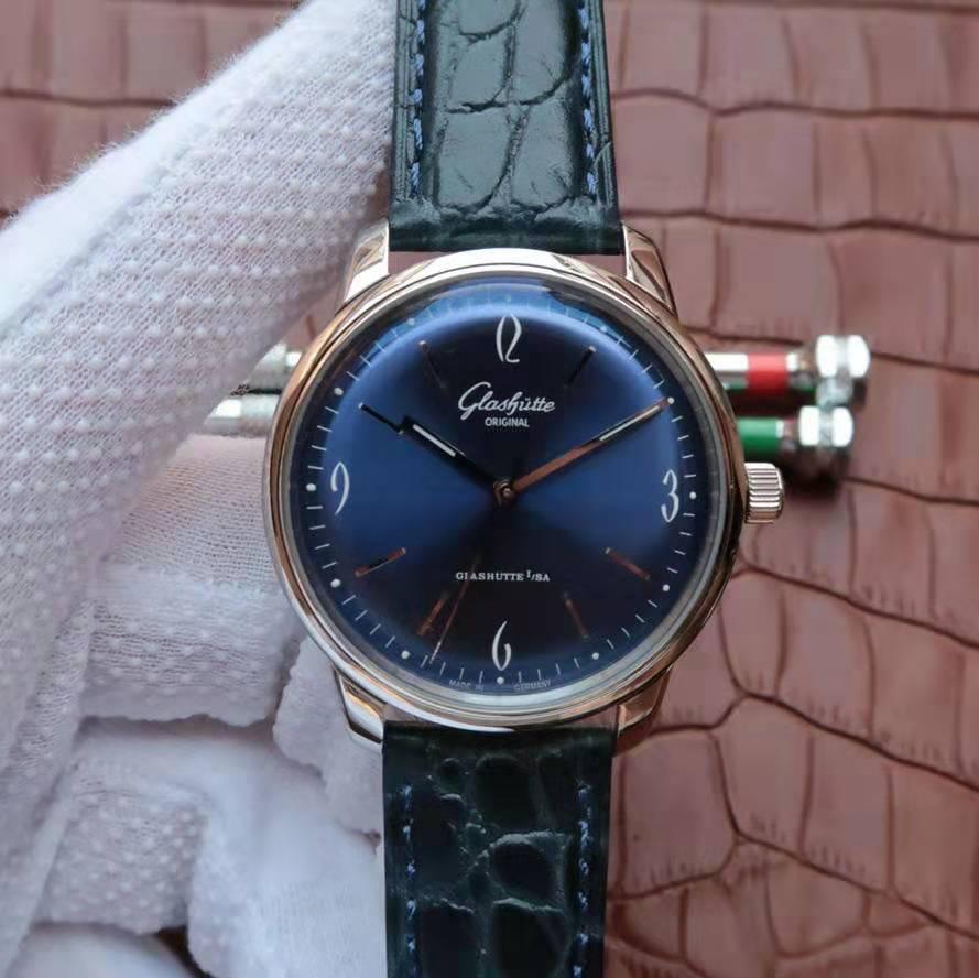 FK厂格拉苏蒂复古款正装腕表评测,蓝面放射纹时尚大气